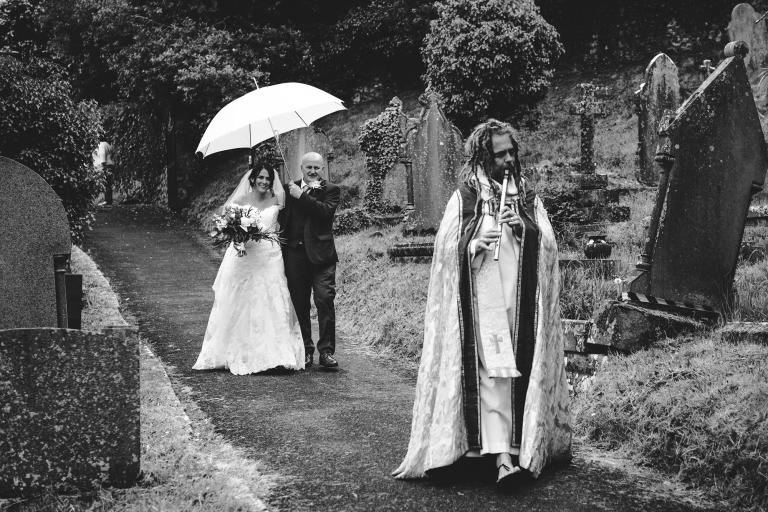 Bride Arriving at Llanrhidian Church Wedding by Gareth Jones Photography