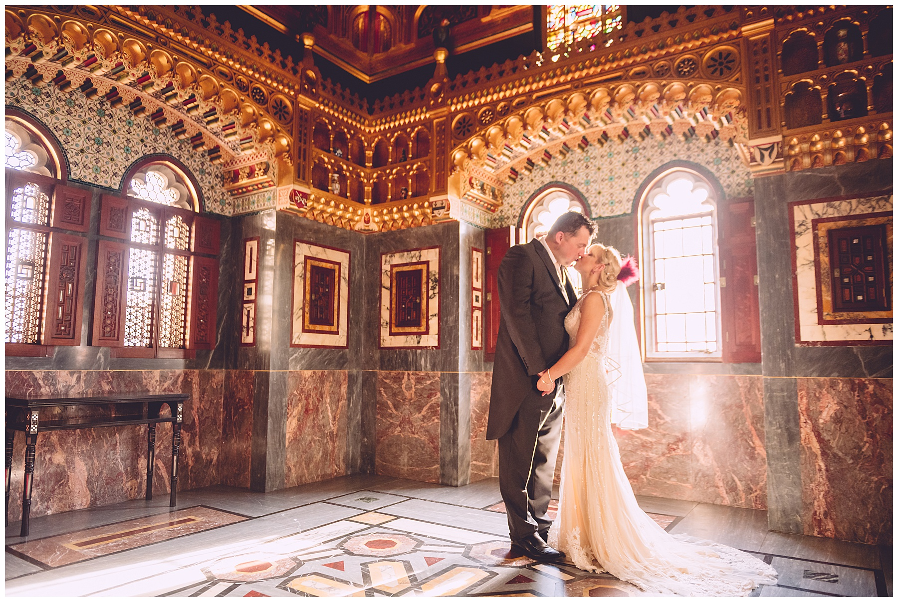 Bride & Groom in Arab Room at Cardiff Castle