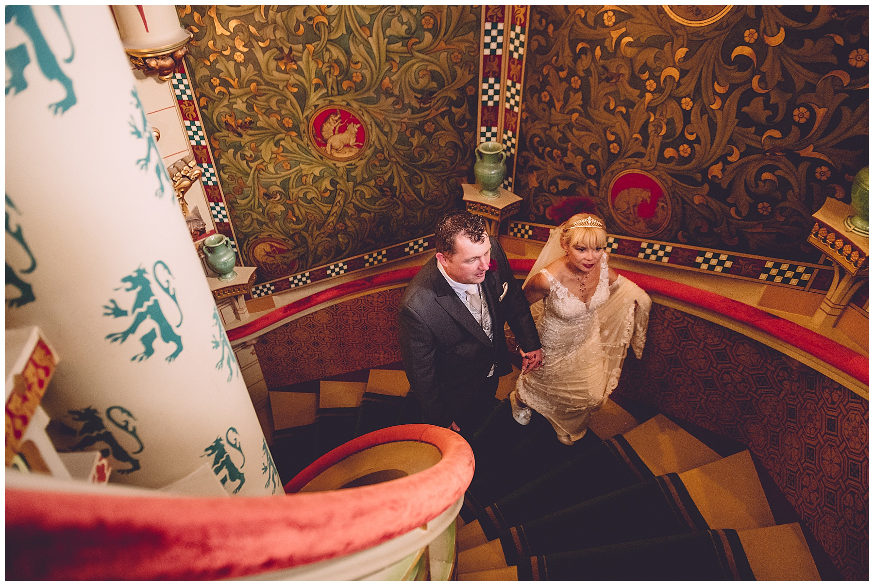 Bride & Groom on staircase at Cardiff Castle
